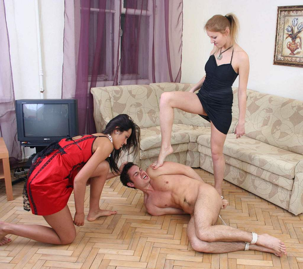 crazy bitches   presents another male slave abused and fucked