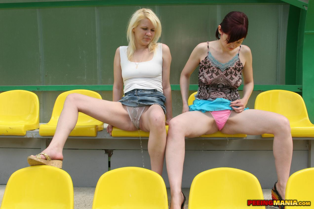 two girls pissing their pants